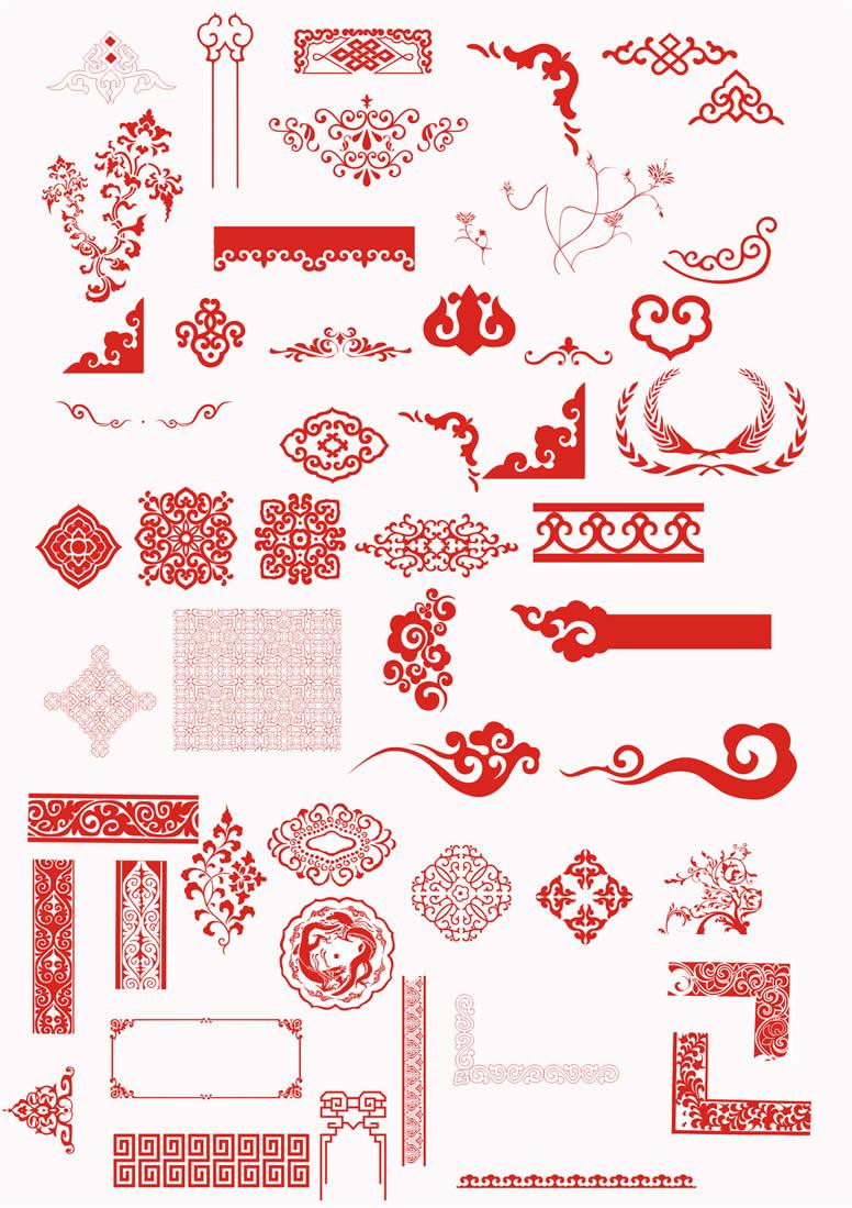 传统中国风花纹psd分层素材