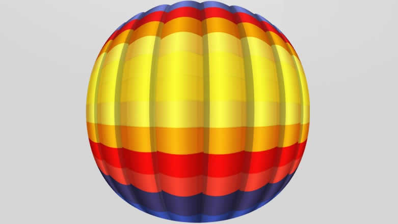 设计师进行网页设计的时候经常看到飘在空中的热气球,那么热气球究竟是如何画出来的呢?    步骤如下:    1、画十一个等宽的颜色块   2、每个色块应用内发光   3、选择后选变形,在变形中选膨化工具,弯曲为20%   4、叠加两层,一层为投影,一层为高光    5、并列多个颜色块,并调整高光和投影    6、把图层智能化,放置在正方形画布里面,并球面化两次    7、再次将前面所有的东西转化为只能包进行选择变形   PS教程结束。现在网页设计,大部分都是设计师们手绘出来的,很少还用色彩拼叠。所以设