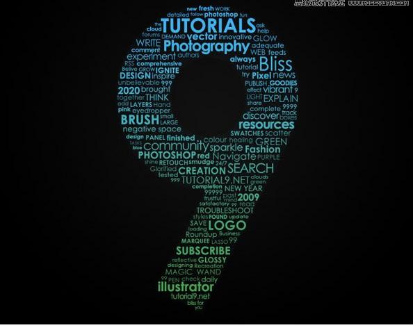 ps教程:制作英文字体组成的绚丽艺术字